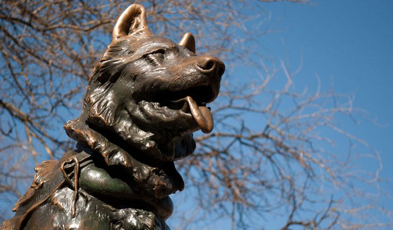 detalle de la estatua de Balto en Central Park