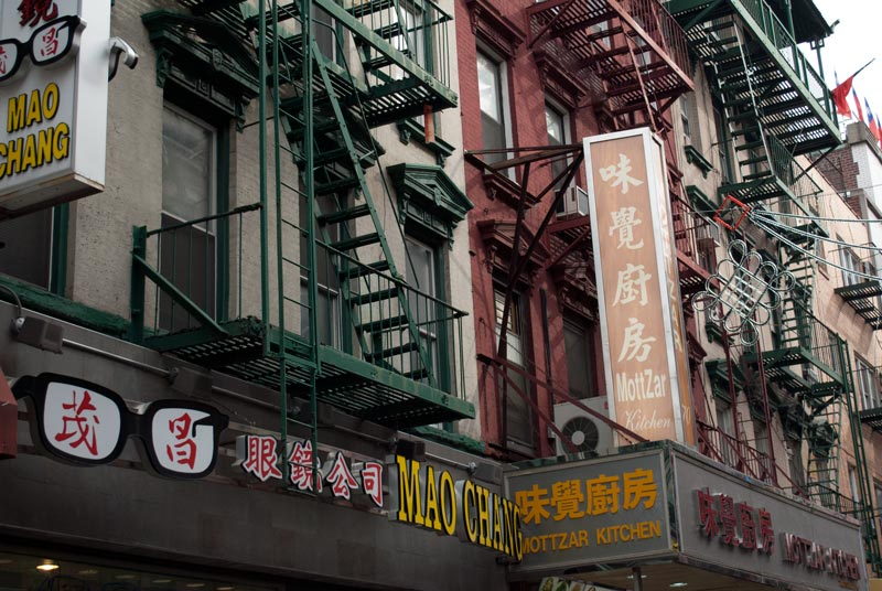 fachadas de edificios en el barrio chino de nueva york