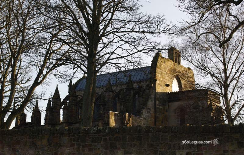 La capilla de Rosslyn con la puesta del sol